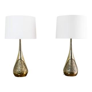 Pair of Brass Brutalist Maurizio Tempestini Lamps