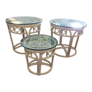 Ficks Reed Glass & Bamboo Side Tables - Set of 3