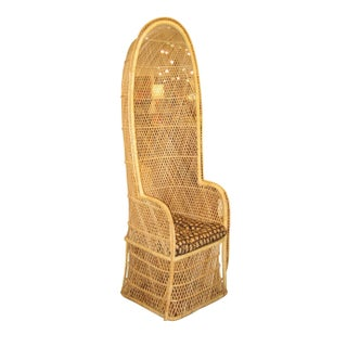 Vintage Woven Rattan Porters Chair