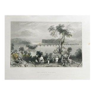 """1883 Antique Print """"Columbia Bridge"""""""