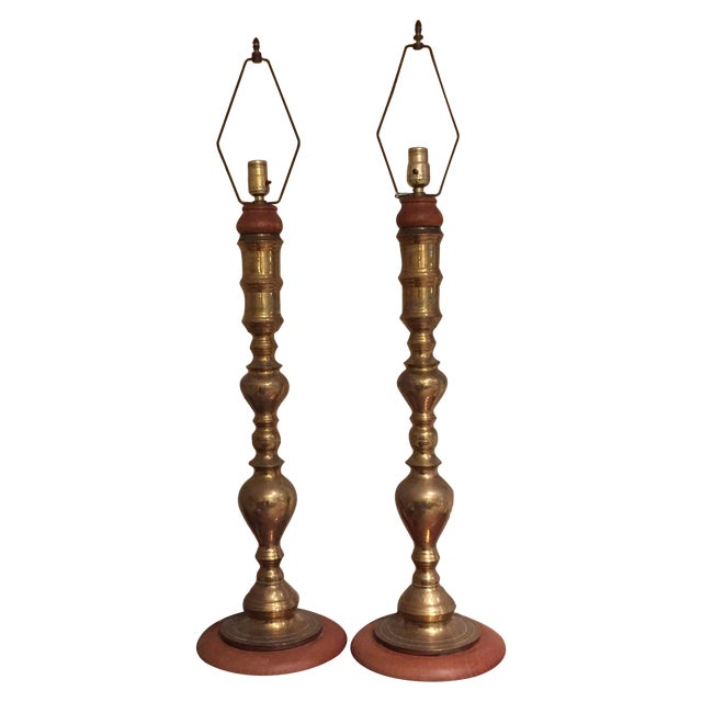 Image of Mid Century Brass Lamps - Pair