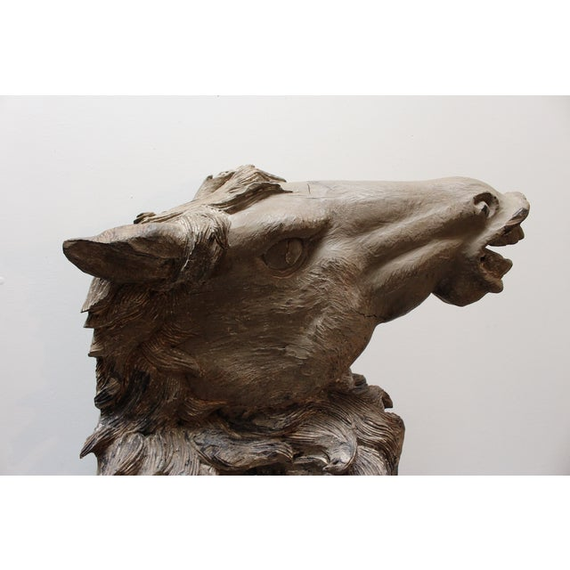 Hand Carved Bust of Horse Head in Wood - Image 4 of 11
