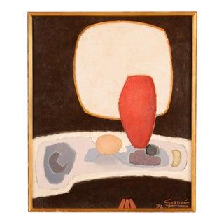 Antonio Guance Original Abstract Still Life Oil Painting Circa 1972