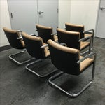 Image of Krueger Leather & Chrome Chairs - Set of 6