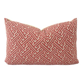 Brick Red Greek Key Pillow