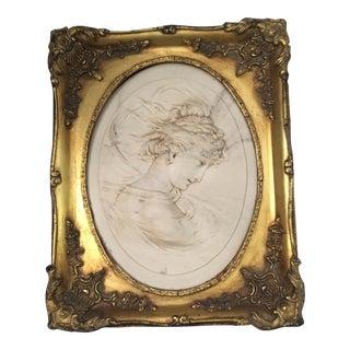 "1889 Bertaux ""Madame Leon"" Framed Marble Plaque"