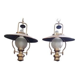 Vintage Brass & Copper Hanging Lamps - A Pair