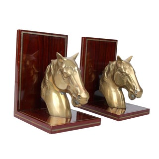 Brass Horsehead on Rosewood Bookends - Pair