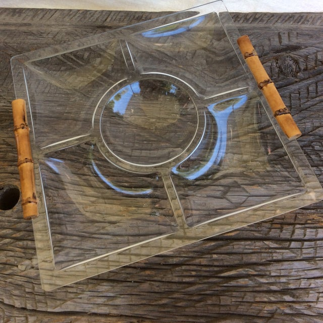Image of Lucite Divided Tray With Rattan Handles
