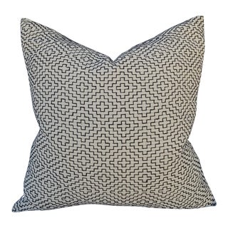 Linen Embroidered Geometric Pillow