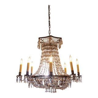 Italian Basket Form Eight Light Crystal Chandelier