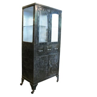 Amazing 30s Double Door Medical Cabinet on Wheels