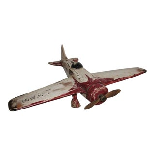 Hand-Carved and Painted Model Airplane