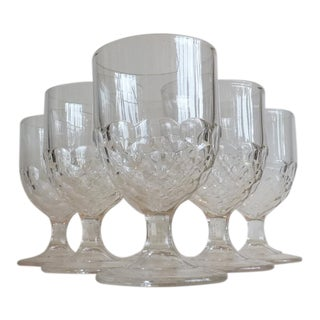 Vintage Etched Glass Water Goblets- set of 7
