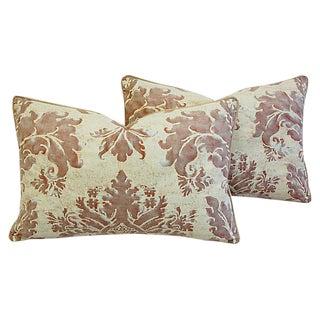 Custom Designer Italian Fortuny Glicine Feather/Down Pillows - Pair
