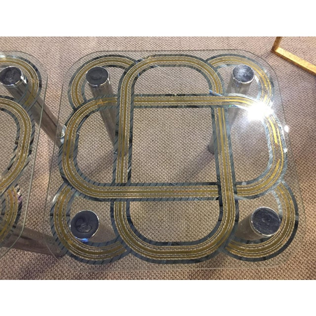 Mid Century Graphic Top Glass &Chrome Side Tables - a Pair - Image 3 of 7