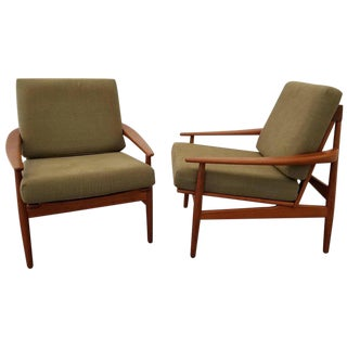 Grete Jalk Attributed Teak Danish Modern Lounge Chairs