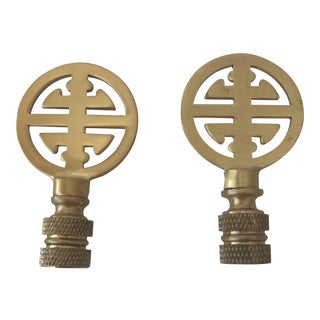 Chinoiserie Brass Lamp Finials - A Pair