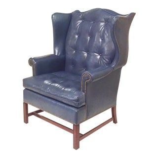 Hickory Blue Leather Wingback Chair