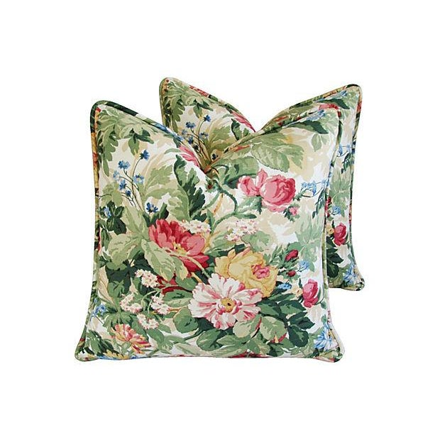Custom P. Kaufmann Floral Bouquet Pillows - Pair - Image 1 of 8