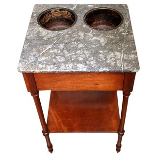 French Directoire Wine Table with Gray Marble Top