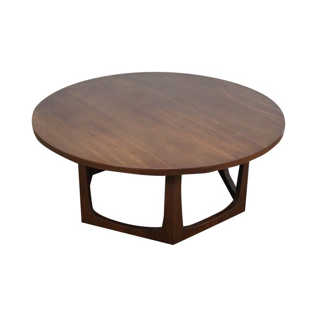 Mid-Century Modern Round Walnut Coffee Table