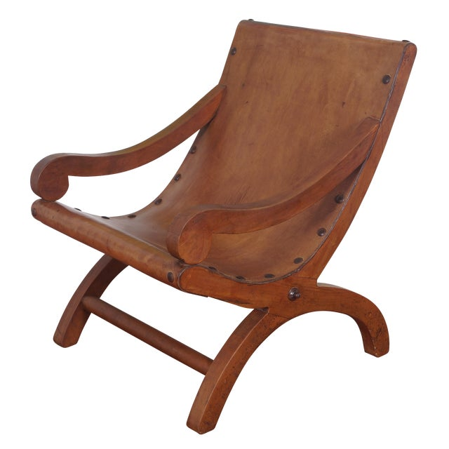 Vintage Leather Solid Wood Lounge Chair | Chairish