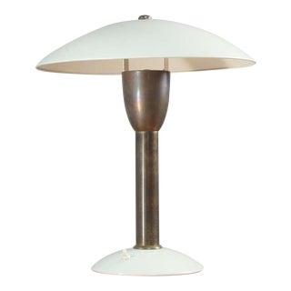Brass and White Metal Italian Table Lamp, 1950s