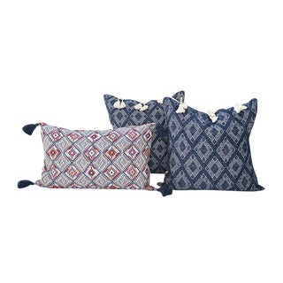 Navy Handwoven Mayan Pillows - Set of 3