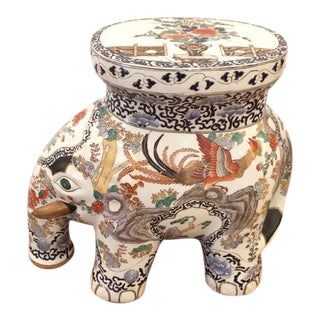 Chinese Painted Elephant Garden Seat
