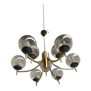 1950's Italian Glass & Brass Chandelier With 9 Glass Globes