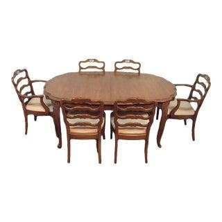 Vintage Carved Oak Scalloped Edge Dining Set - S/7