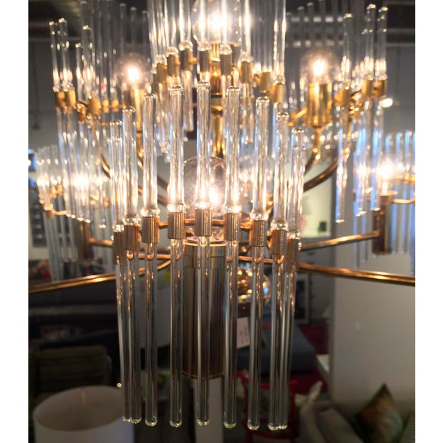 Sciolari Crystal Rod and Brass Chandelier - Image 6 of 7