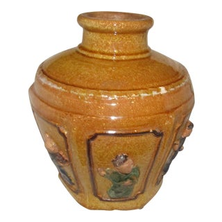 Figural Decorated Lidded Terra Cotta Urn