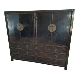 Asian Black Lacquer Chinese Cabinet