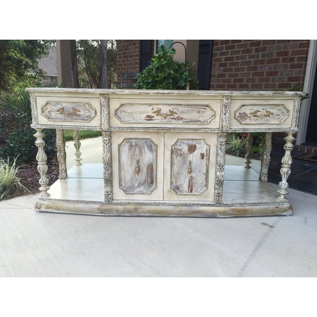 Vintage Distressed Hollywood Regency Sideboard