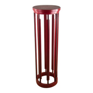 Red Fluted Pedestal Stand Table