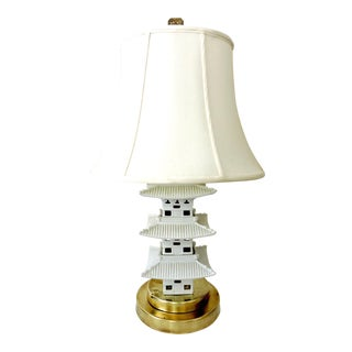 White Oriental Pagoda Table Lamp