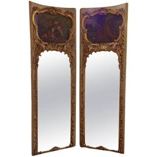 Antique French Gilt Wood Trumeau Panels - A Pair