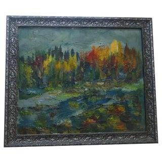 Autumn Leaves, Impressionist Oil on Canvas
