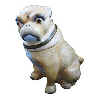 English Staffordshire Pug Dog Covered Porcelain Jar
