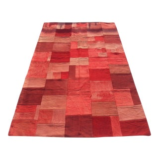 Turkish Area Red Patchwork Rug