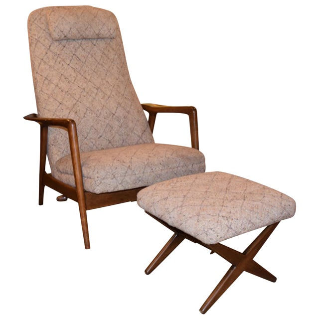 Folke Ohlsson Mid-Century Chair & Ottoman - Image 1 of 7