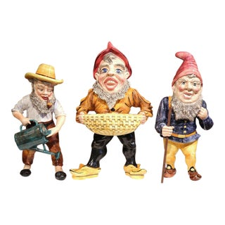 Mid-Century French Hand-Painted Barbotine Gnomes Figurines - Set of 3