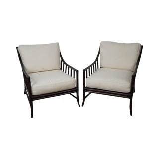 McGuire Style Rattan Bamboo Lounge Chairs - A Pair