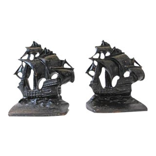 Vintage Nautical Iron Ship Bookends - Pair