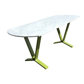 White Marble Pedestal Dining Table