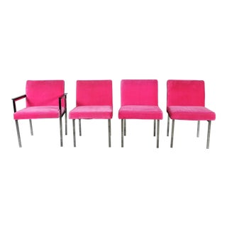 Vintage American of Martinsville Mid Century Modern Hot Pink & Chrome Dining Chairs - Set of 4