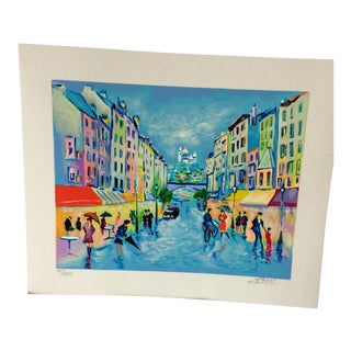 "Paris Street Scene Serigraph Hand Signed Jean C. Picot ""Montmarte Sacre-Coeur"" numbered 98/350"