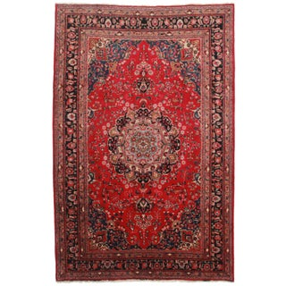 RugsinDallas Hand-Knotted Wool Persian Mashad - 6′5″ × 7′11″